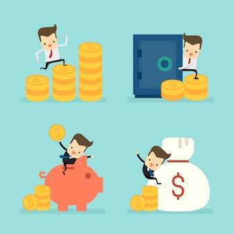Set of businessman in saving money concept