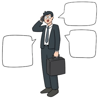 Set of businessman using smartphone