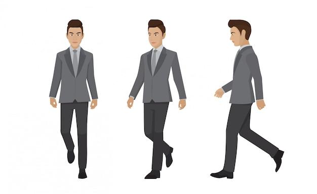 Set businessman walking forward.