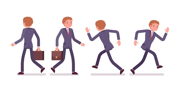 Set of businessman in walking, running poses, rear, front view