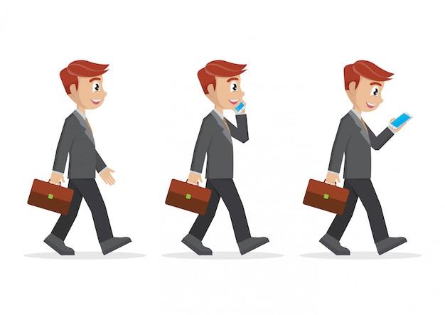 Set businessman walking.