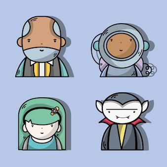 Set businessman with astronaut and vampiere with woman