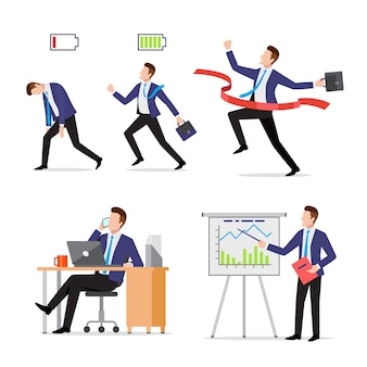 Set businessman with briefcase in different situations