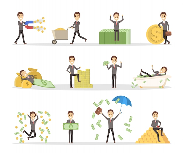 Set of businessman with money. happy successfull man jumping with a pile of money, sitting on the banknotes and swimming in bath full of cash. financial well-being.
