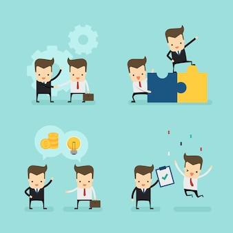 Set of businessmans in deal concept