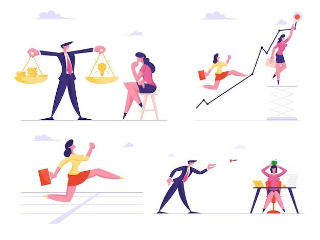 Set of businessmen and businesswomen characters climbing growing arrow chart