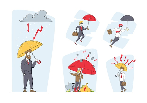 Set of businessmen characters stand under umbrella. financial protection, insurance, shield from problem and crisis