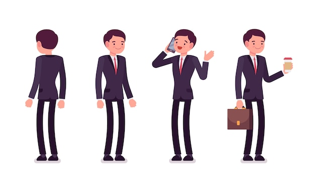 Set of businessmen in standing poses, rear and front view