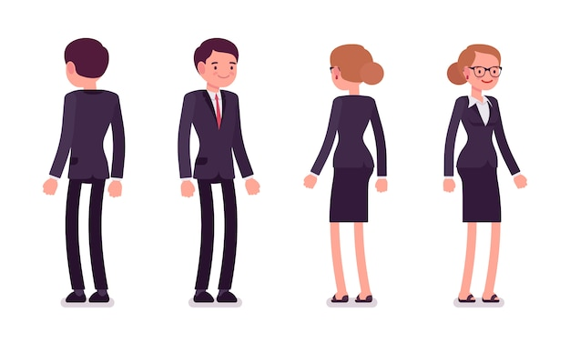 Set of businessmen in standing poses