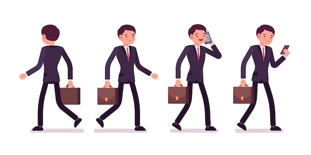 Set of businessmen in walking poses, rear and front view