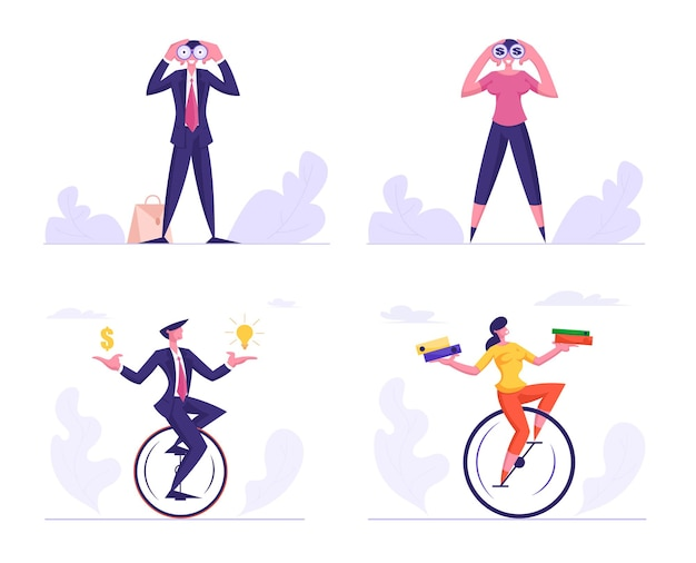 Set of businesspeople business man and woman watching to binoculars, riding monowheel