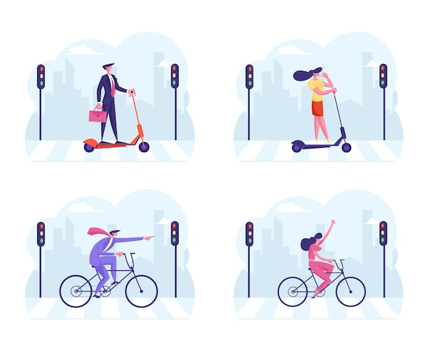 Set businesspeople characters in formal wear riding bicycle and electric scooter crossing road