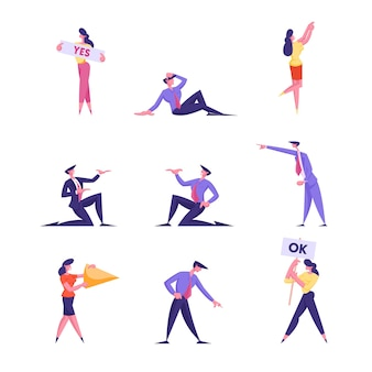 Set of businesspeople characters holding banners with yes and ok typography