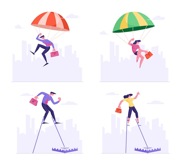 Set of businesspeople falling down with parachute and walking on stilts step into trap lying on ground