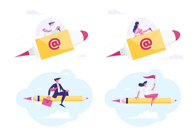 Set of businesspeople flying on pencil e-mail rocket to working success and goal
