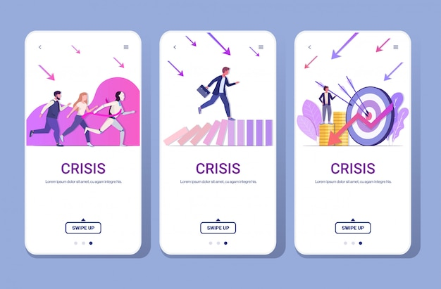 Set businesspeople frustrated about financial crisis bankrupt investment risk competition concept phone  screens collection full length horizontal copy space