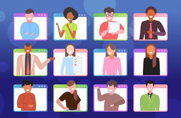 ビデオ通話中にリモート会議検疫分離の概念を持っているビジネスマンを設定します。 webブラウザーウィンドウの肖像画の水平方向の図でレースの労働者をミックスします。