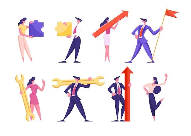 Набор бизнесменов, имеющих различные бизнес-атрибуты