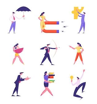 Set of businesspeople lifestyle illustration