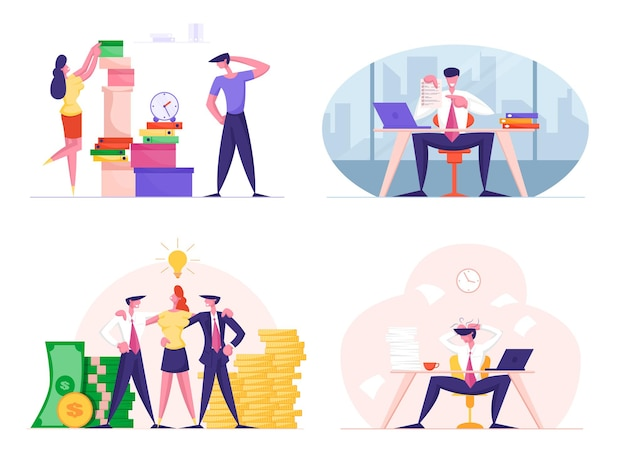 Set of businesspeople men and women overworked with paperwork in office