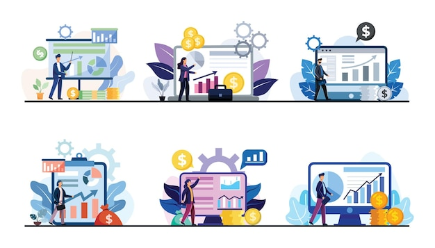 Set of businesspeople working with data graph and financial statements in cartoon character, design flat illustration, business finance concept