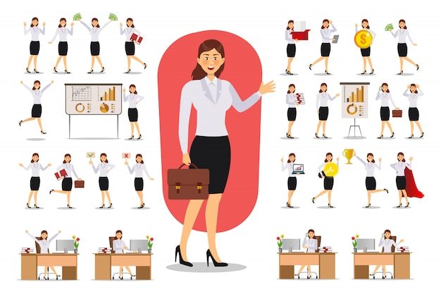 Set of businesswoman character design.