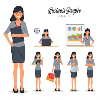 Set of businesswoman character in job daily routine.