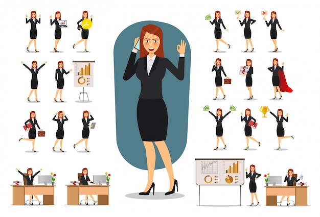 Set of businesswoman character .