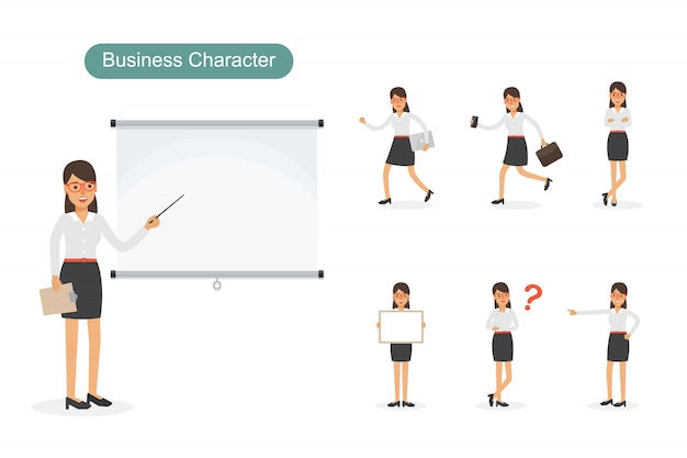 Set of businesswoman in different positions