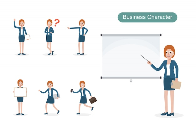 Set of businesswoman in different positions.