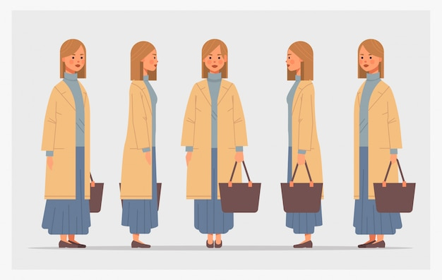 Set businesswoman with handbag front side view female character different views for animation full length horizontal