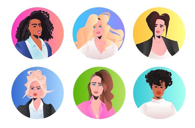 설정 경제인 지도자 아바타 컬렉션 혼합 인종 비즈니스 여성 리더십 최고의 보스 개념에 직면