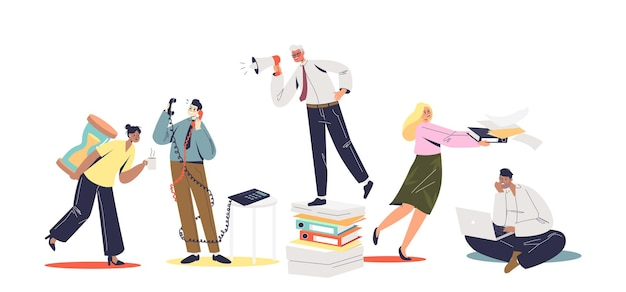 Set of busy and overloaded with paperwork office managers and clerks. office slavery concept. workers overworked and stressed with deadlines. flat vector illustration