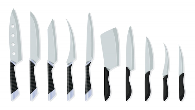 Set of butcher meat knives for design butcher themes. different kind of knives for chefs, knife icon for butcher shop. cutlery icon set