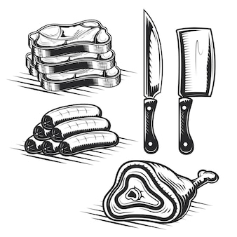 Set of butcher's elements for creating your own badges, logos, labels, posters etc.