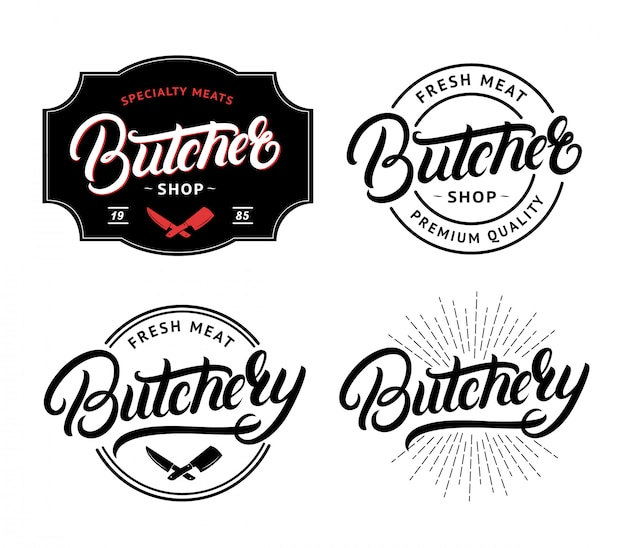 Set of butcher shop and butchery hand written lettering logo
