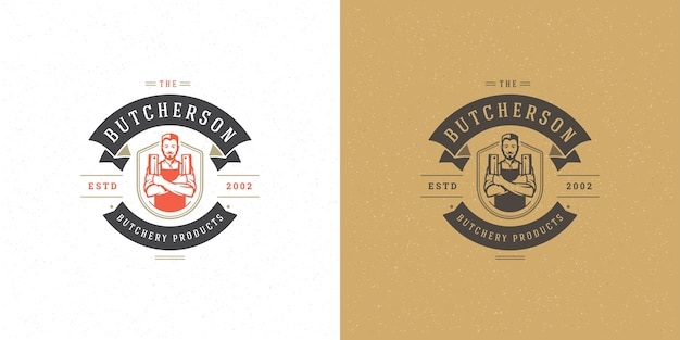 Set of butchershop or restaurant logos