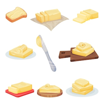 Set of butter in different forms