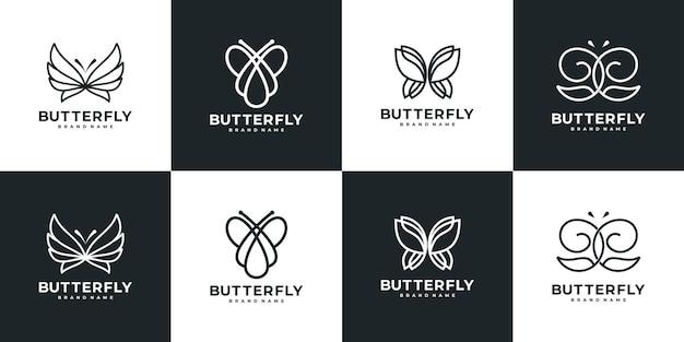 Set of butterfly line art logo template