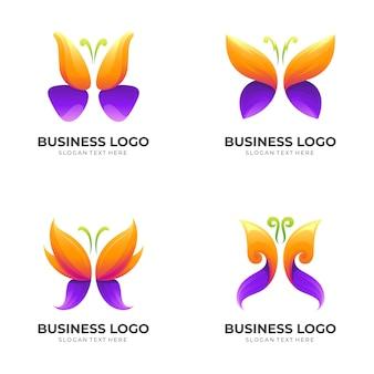 蝶のロゴデザインイラスト、美容ロゴテンプレート、動物アイコンを設定します Premiumベクター
