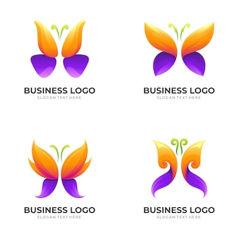 Set butterfly logo design illustration, beauty logo template, animal icon