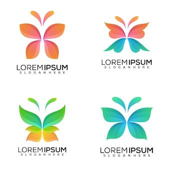 Set of butterfly logo design