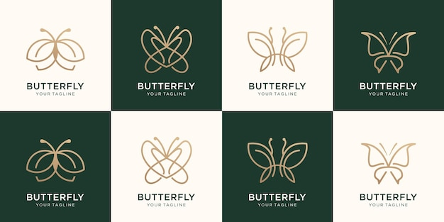 Set of butterfly minimalist line art style logo design