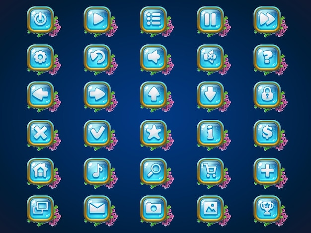 Set buttons on atlantis riuns game user interface background  for web video game