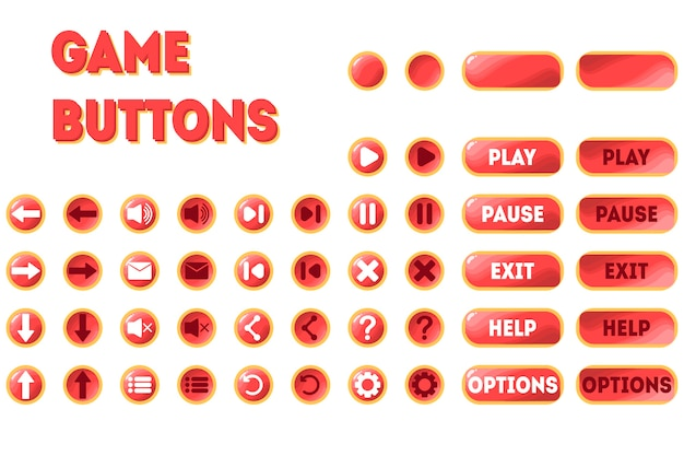 A set of buttons for the game. two positions - original and pressed. pause, play, exit, options, help, arrows, rewind, restart, sound, mail, menu and more.