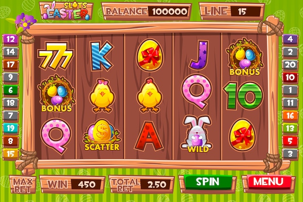 Set of buttons and icons for classic casino games creation