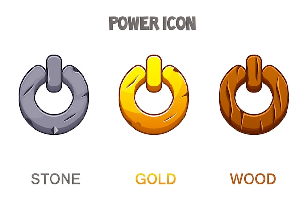 Set of buttons or icons power golden, stone, wooden