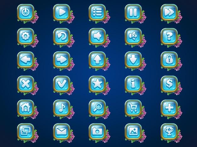 Webビデオゲームのatlantisriunsゲームのユーザーインターフェイスの背景にボタンを設定します