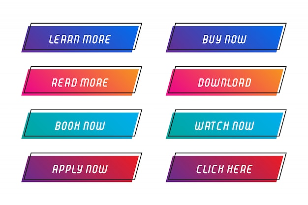 Set of buttons with frame for website.