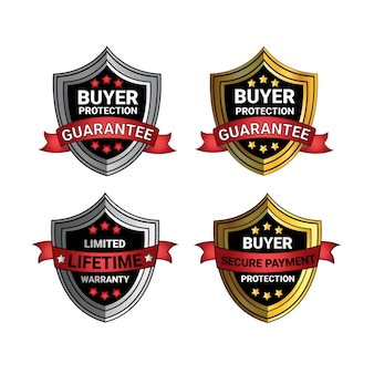 Set of buyer protection guarantee signs golden and silver shields seal isolated